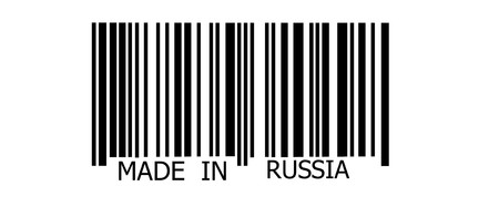 made in russia: Made in Russia on abstract barcode security pattern background Stock Photo