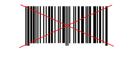 Abstract barcode security pattern on white background crossed two red lines photo