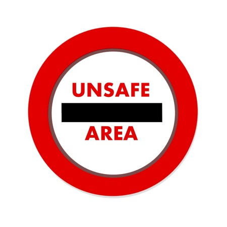 unsafe: unsafe, area icon in white background Stock Photo