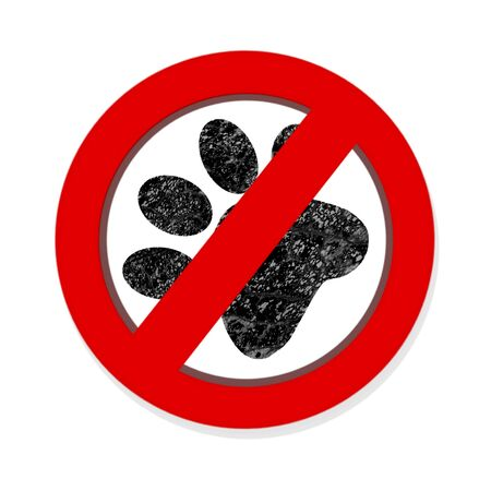 Interdiction paw  symbol sign isolated on white background photo