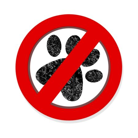 interdiction: Interdiction paw  symbol sign isolated on white background