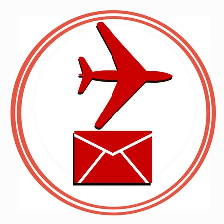 Abstract red  airplane silhouette on white background with red circle photo