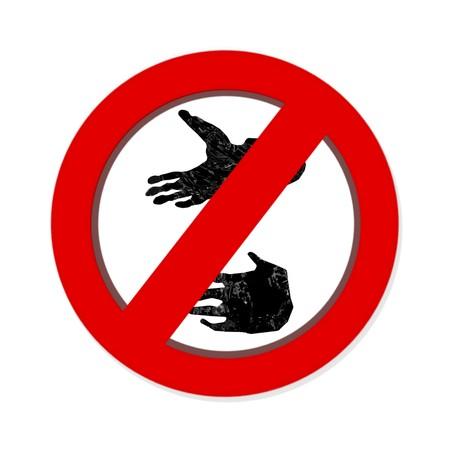pawprint: Interdiction paw  symbol sign isolated on white background. Gorilla pawprint