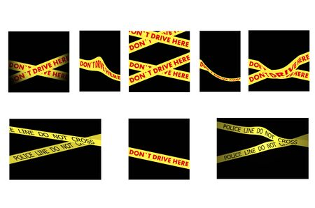 Set of Police tapes POLICE LINE DO NOT CROSS  and DO NOT DRIVE HERE on black background photo