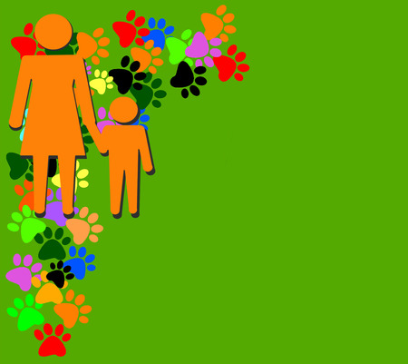 unmarried: Orange silhouette of mother and child on green background with colored  pawprints and place for your text or design