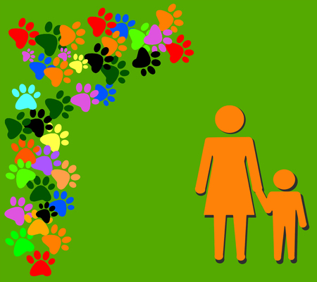 unmarried: Set pictures with orange silhouette of mother and child on green background with colored  pawprints and place for your text or design