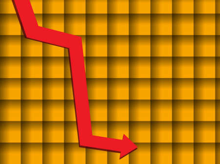 moving in:  Bar graph of falling on yellow grilled background