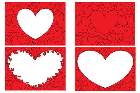 lovestruck:  Set of Illustrations with several hearts forming colorful patterns.