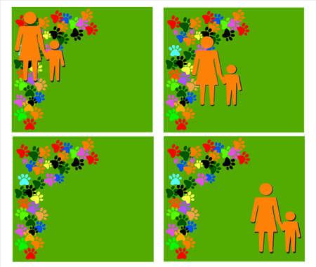 unmarried: Establezca fotos con la silueta anaranjada de la madre y el ni�o en el fondo verde con pawprints colores y lugar para el texto o el dise�o