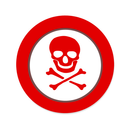 poisonous organism: Red prohibition NO PIRATE sign with skull and crossbones on white background