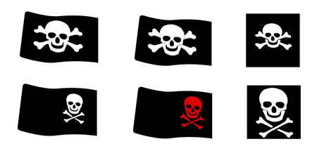 Set of Pirate  Black Flags on white background photo