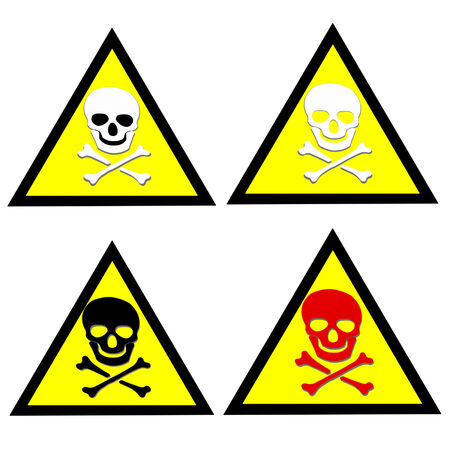 Abstract Beware toxic warning stickers with Skull and Crossbones sign on yellow background photo