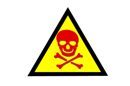 Abstract Beware toxic warning sticker with Skull and Crossbones sign on yellow background
