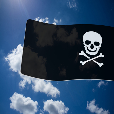 poisonous organism: Pirate  Black Flag with white Skull and Crossbones sign on blue sky background