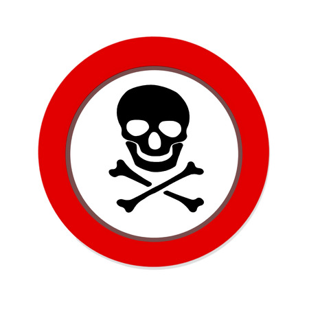 Red prohibition NO PIRATE sign with skull and crossbones on white background photo