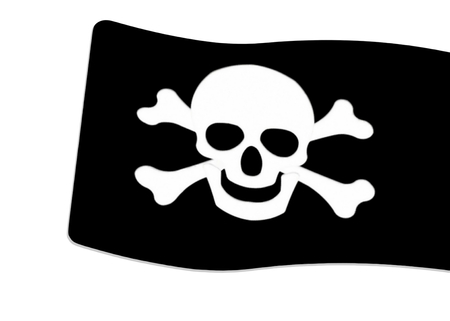 Pirate  Black Flag with white Skull and Crossbones sign on white background