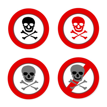 poisonous organism:  Set of Red prohibition NO PIRATE sign with skull and crossbones on white background Stock Photo
