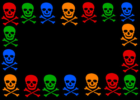 poisonous organism: colored skull and crossbones symbol frame on black background. Stock Photo