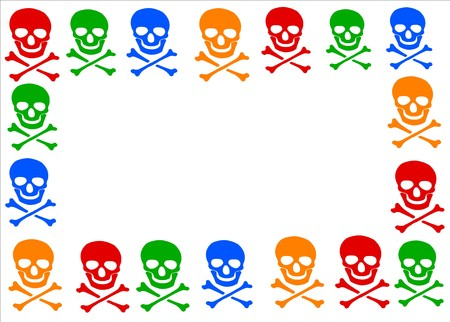 #29481465   Colored Skull And Crossbones Symbol Frame On White Background.