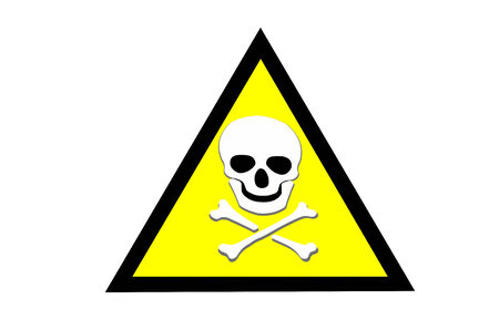 Abstract Beware toxic warning sticker with Skull and Crossbones sign on yellow background photo