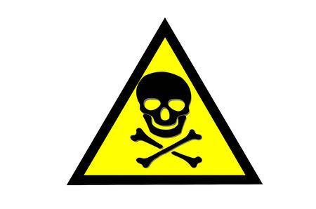 beware: Abstract Beware toxic warning sticker with Skull and Crossbones sign on yellow background