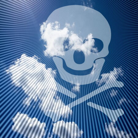 poisonous organism: White skull and crossbones silhouette  symbol  on blue sky background with rays
