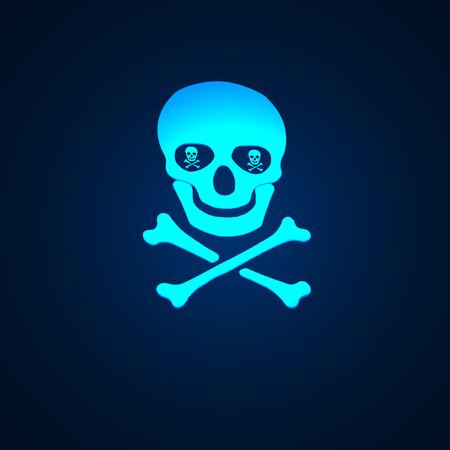 poisonous organism: Magic skull and crossbones symbol wish shadow on black background