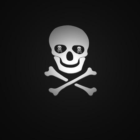 poisonous organism: White skull and crossbones symbol wish shadow on black background  Stock Photo