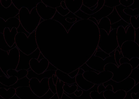 lovestruck: Illustration of several hearts forming colorful patterns on black background