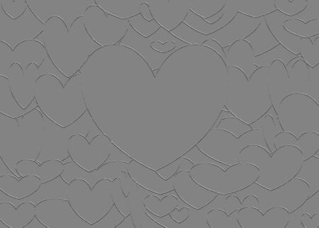 lovestruck: Illustration of several hearts forming  patterns on gray background Stock Photo
