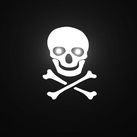 poisonous organism: White skull and crossbones symbol  on black background.