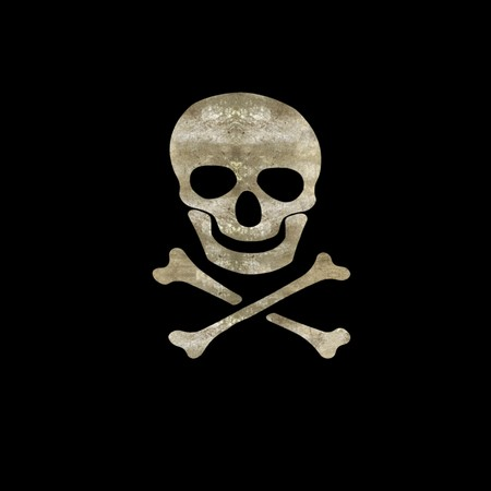 poisonous organism: Grunge skull and crossbones silhouette symbol on striped black background Stock Photo