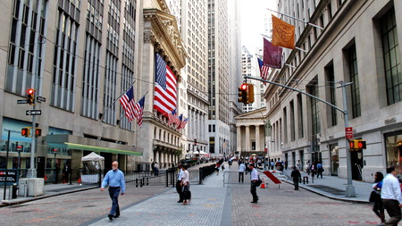 stock: New York Stock Exchange located on Wall Street in the financial district in lower Manhattan  in New York, USA