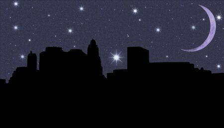 downtown district: Lower Manhattan silhouette on the night starry sky and Crescent background