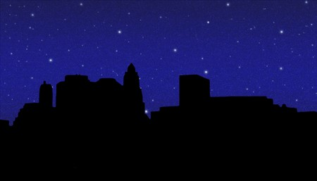 lower: Lower Manhattan silhouette on the night starry sky  background Stock Photo