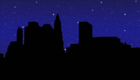 travel locations: Lower Manhattan silhouette on the night starry sky  background Stock Photo