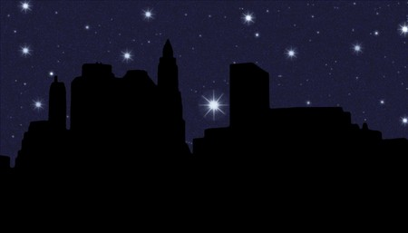 downtown district: Lower Manhattan silhouette on the night starry sky  background Stock Photo