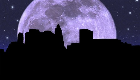 financial district: Lower Manhattan silhouette on the night starry sky and  Moon background