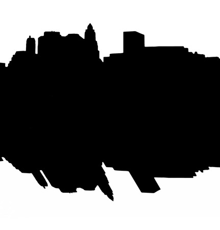 Lower Manhattan silhouette on white  background with reflection photo