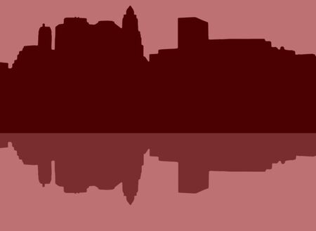 Lower Manhattan silhouette on light red  background with reflection Stock Photo