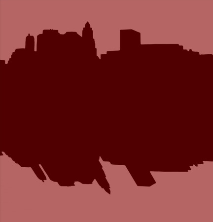 hudson river: Lower Manhattan silhouette on light red  background with reflection Stock Photo
