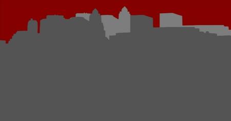 Lower Manhattan silhouette on light red  background