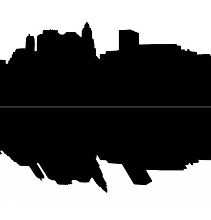 Lower Manhattan silhouette on white  background with reflection Stock Photo