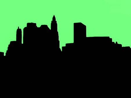 downtown district: Lower Manhattan silhouette on green  background