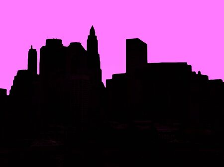 downtown district: Lower Manhattan silhouette on pink background