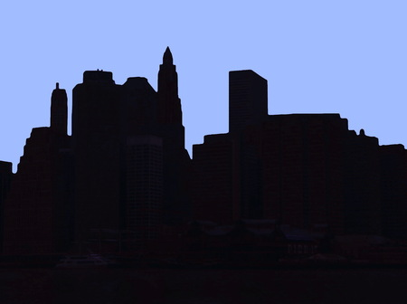 downtown district: Lower Manhattan silhouette on blue background