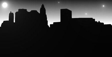 downtown district: Lower Manhattan silhouette on white  background