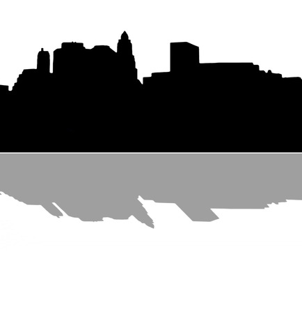 downtown district: Lower Manhattan silhouette on white  background with reflection Stock Photo