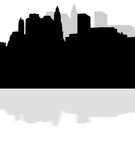 hudson river: Lower Manhattan silhouette on white  background with reflection Stock Photo