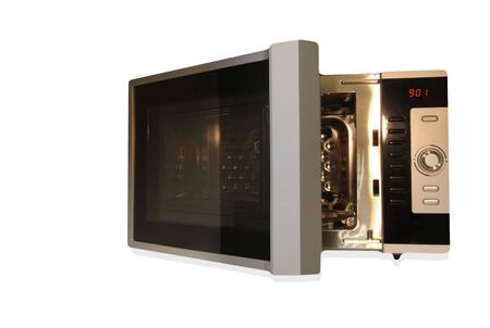 defrost: Stainless steel microwave oven isolated on whiteckground. Kitchen appliance.